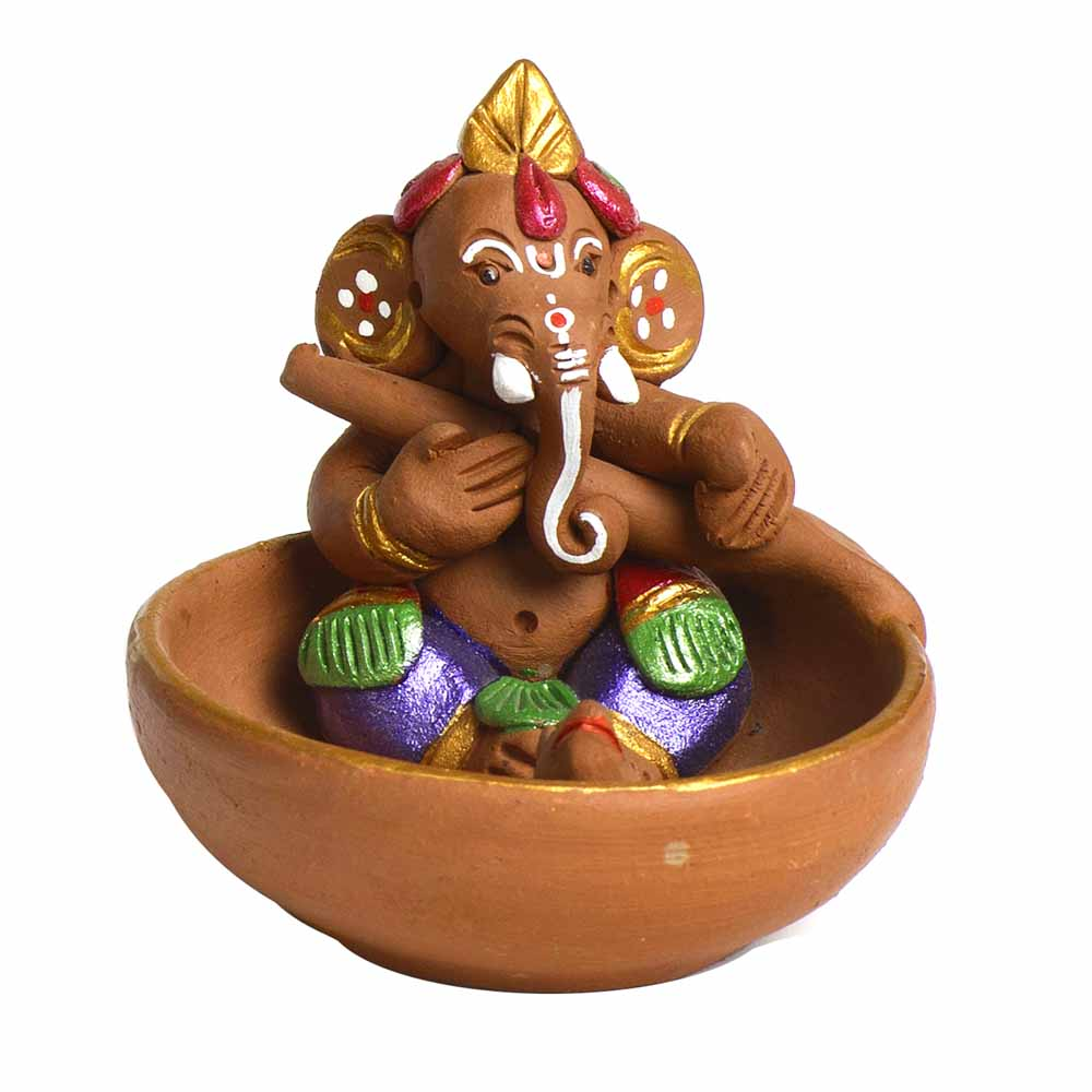 Multicolor Terracotta Ganesh Small Boat Showpiece