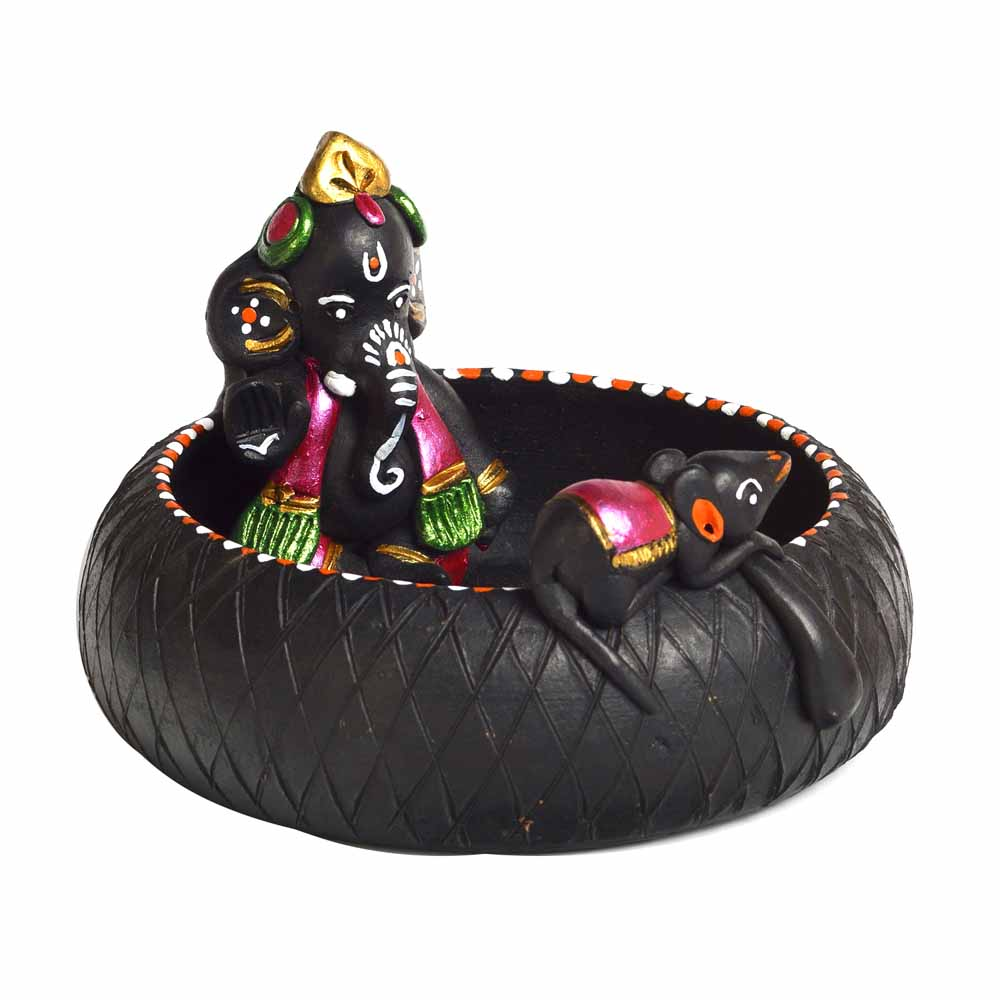 Terracotta-Black & Pink Terracotta Ganesh Showpiece with Black Finish