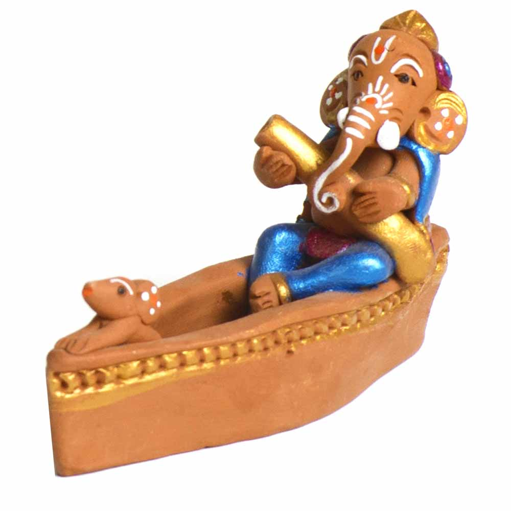 Terracotta-Brown & Blue Terracotta Ganesh in Cute Boat Showpiece
