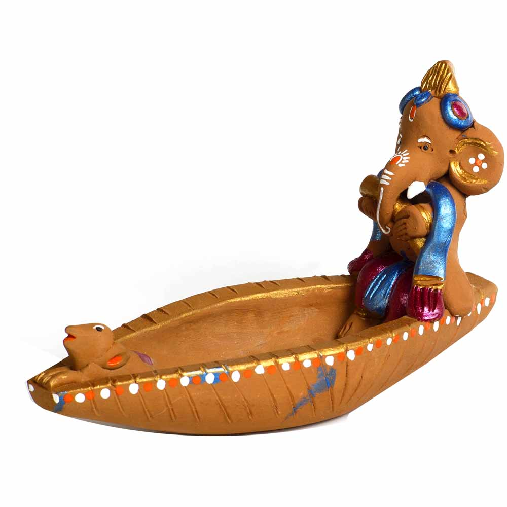 Terracotta-Multicolor Terracotta Ganesh in Boat Showpiece