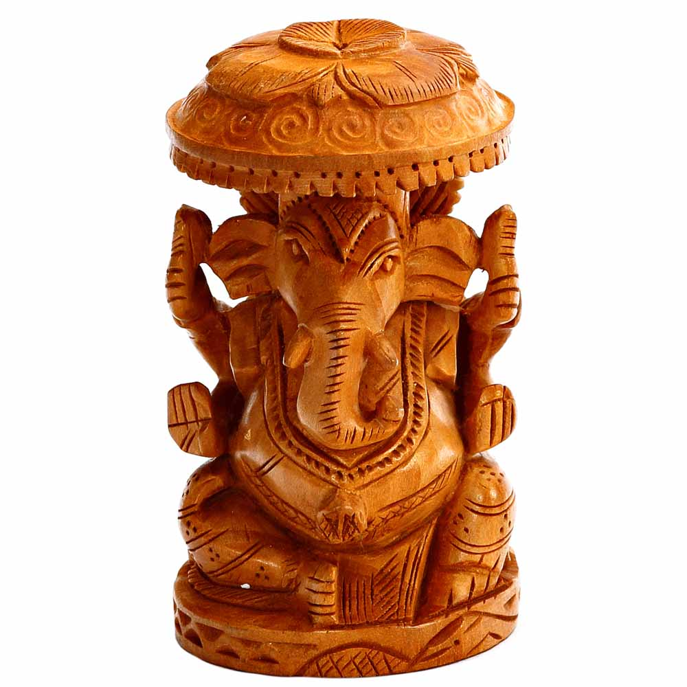 Pleasingly Carved Wooden Ganesh Idol