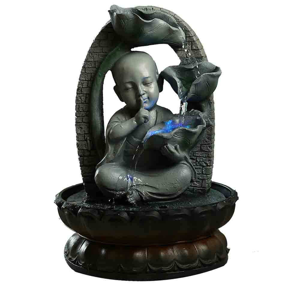 Handcrafted Serene Buddha Indoor Water Fountain with Light