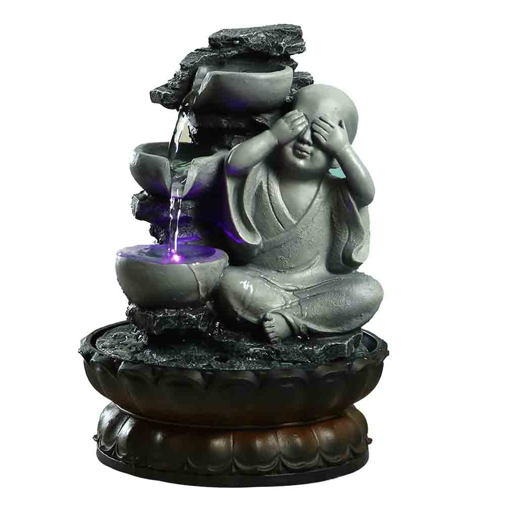 Handcrafted Serene Buddha Flowing Water Indoor Fountain with Light