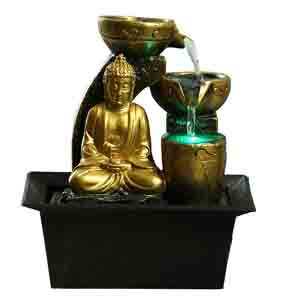 Artifacts-Golden Buddha Flowing Water Indoor Fountain with Light