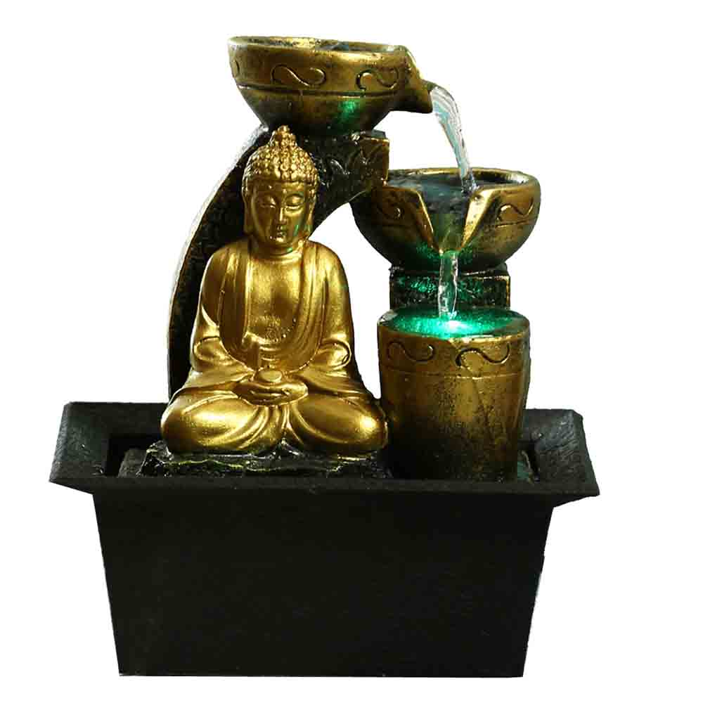 Handcrafted Golden Buddha Flowing Water Indoor Fountain with Light