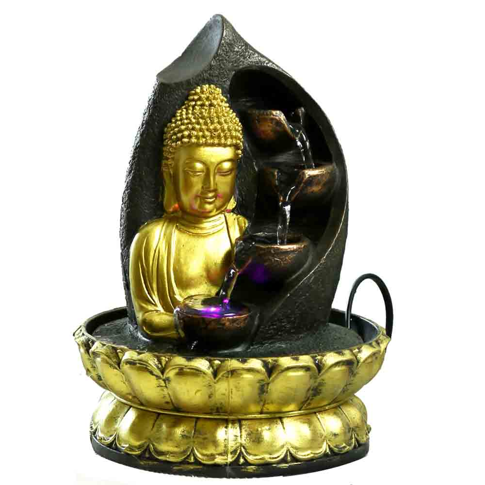 Hand Sculpted Golden Lotus Buddha Indoor Water Fountain with Light