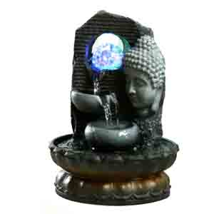 Artifacts-Lighted Crystal Ball Indoor Water Fountain