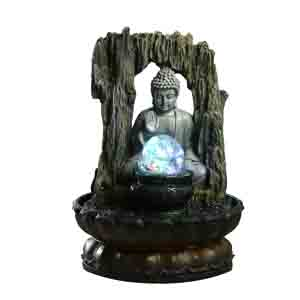 Artifacts-Lighted Crystal Ball & Buddha Indoor Water Fountain
