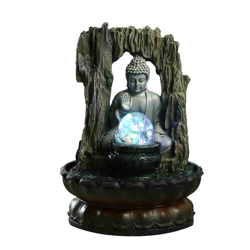 Lighted Crystal Ball and Buddha Indoor Water Fountain