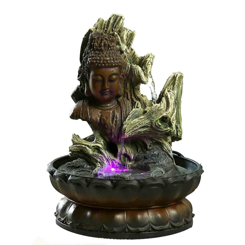 Hand Sculpted Buddha Design Indoor Water Fountain with Light