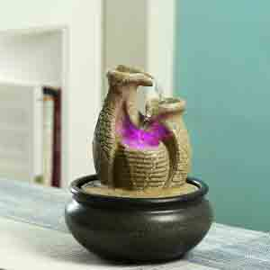 Artifacts-Pottery Design Indoor Water Fountain with Light