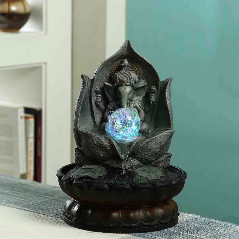 Lotus Ganesh Hand Sculpted Indoor Water Fountain with Light