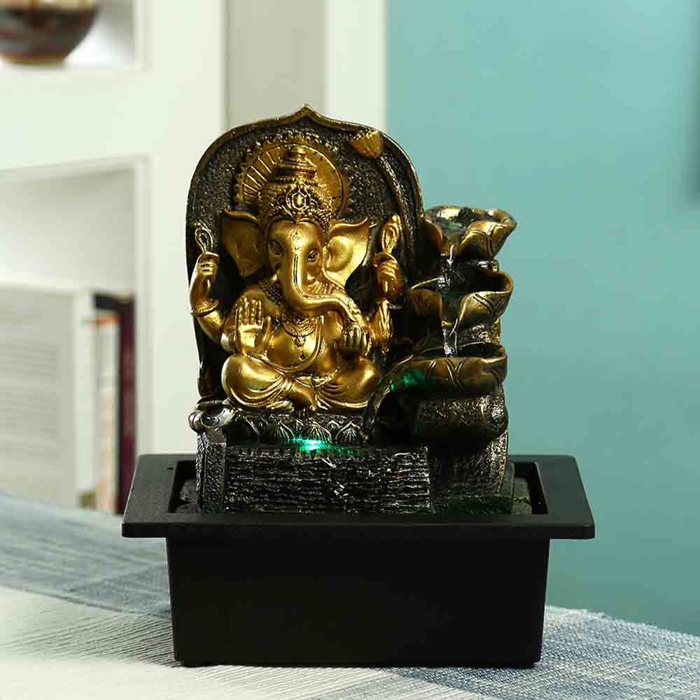 Golden Ganesh Hand Sculpted Indoor Water Fountain with Light