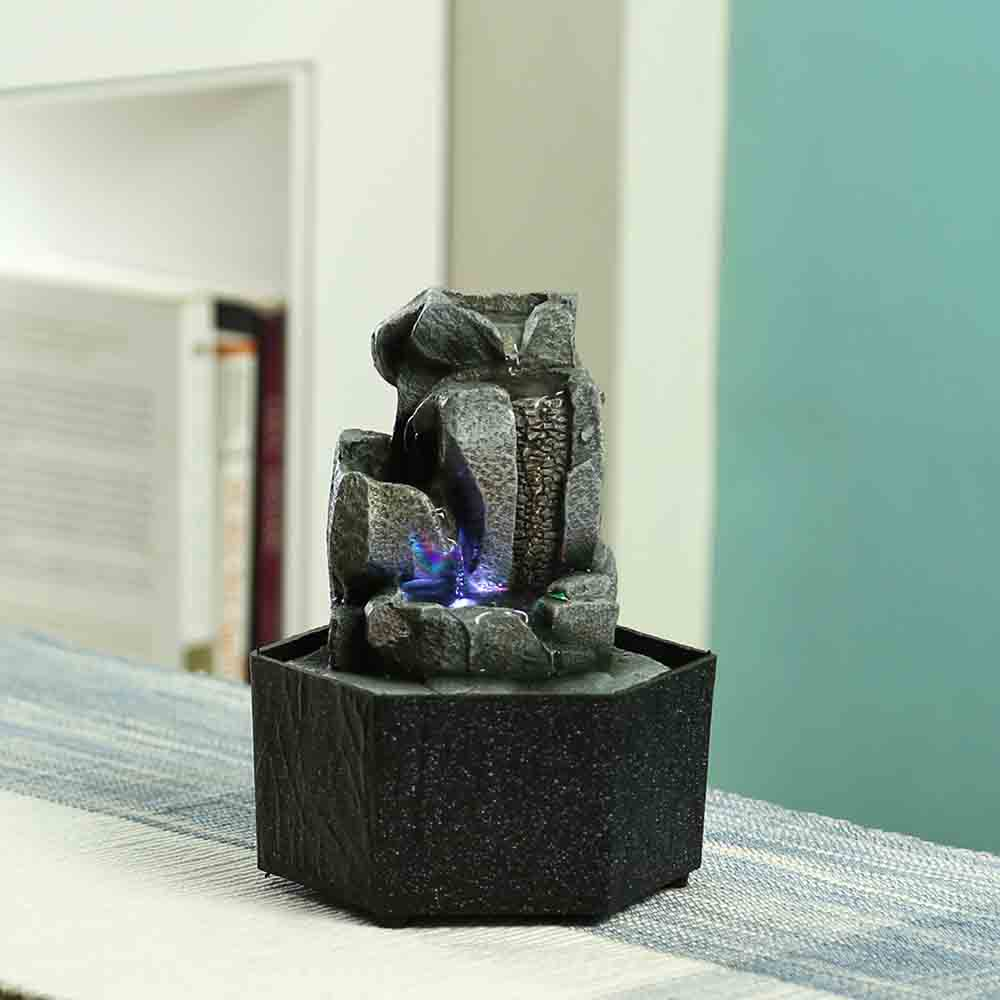 Hand Sculpted Stone Finish Indoor Water Fountain with Light