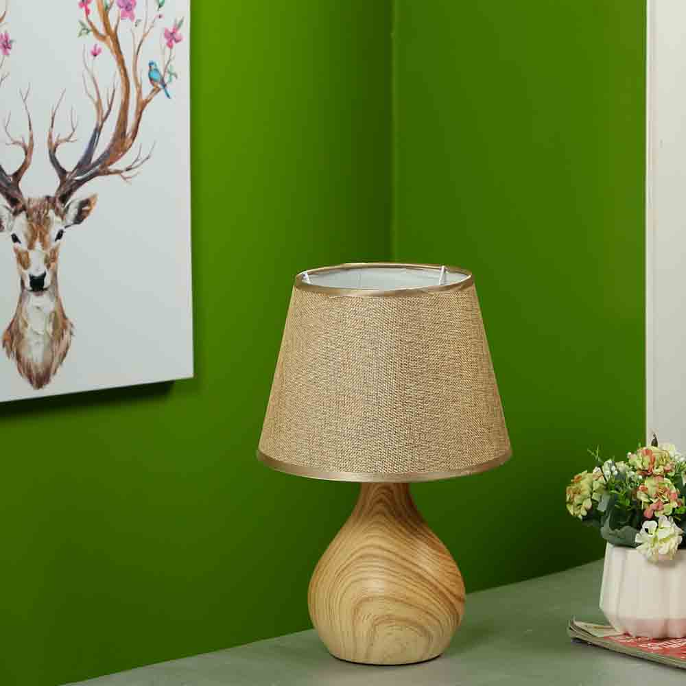 Wooden Finish Gold Painted Ceramic Table Lamp