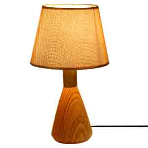 Lamps-Golden Head Wooden Finish Ceramic Table Lamp