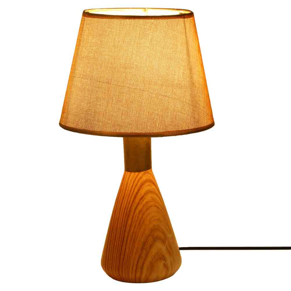 Golden Head Wooden Finish Ceramic Table Lamp
