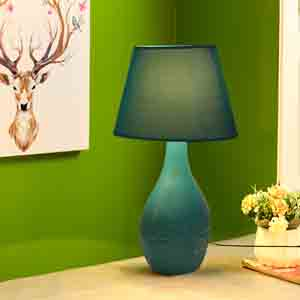 Lamps-Retro Style Cyan Ceramic Lamp with matching Shade