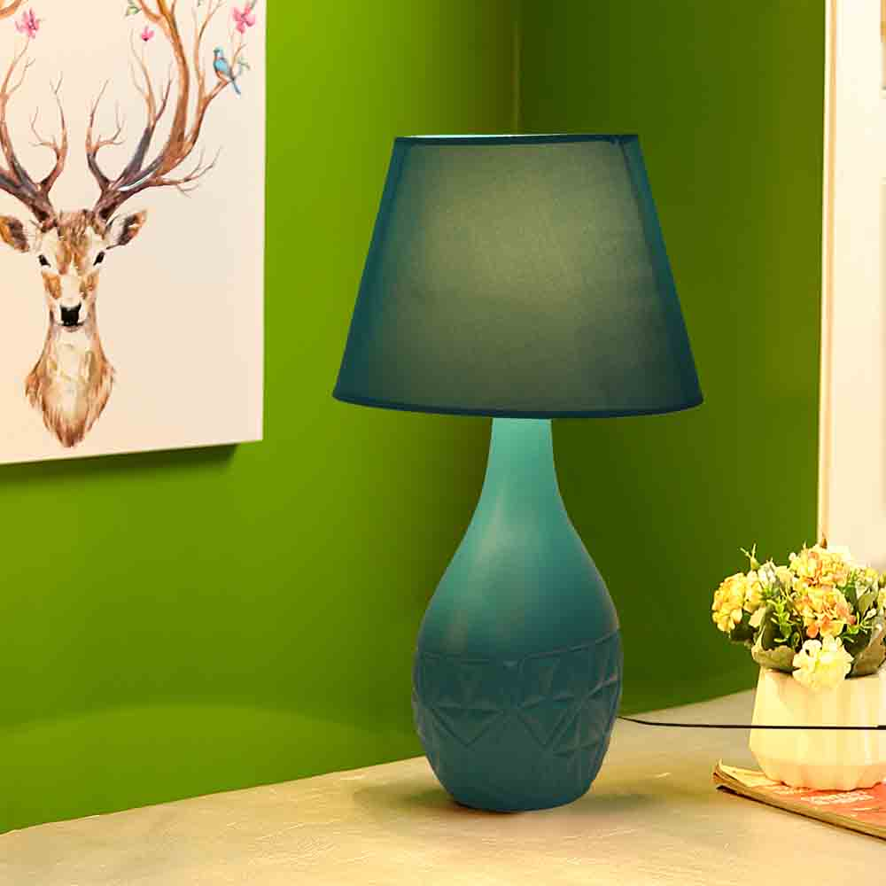Retro Style Cyan Ceramic Lamp with matching Shade