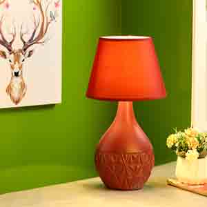Lamps-Retro Style Red Ceramic Lamp with matching Shade