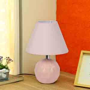 Lamps-Round Ceramic Pink Colour Table Lamp