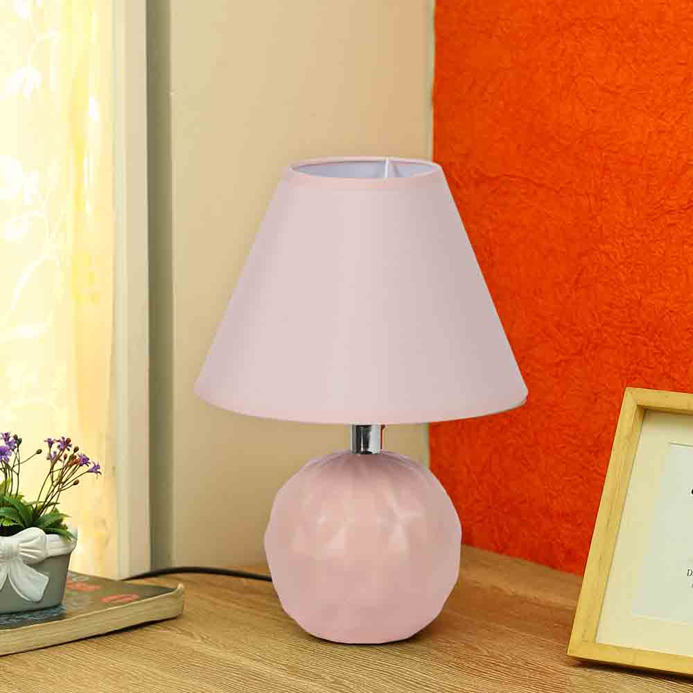 Round Ceramic Pink Colour Table Lamp