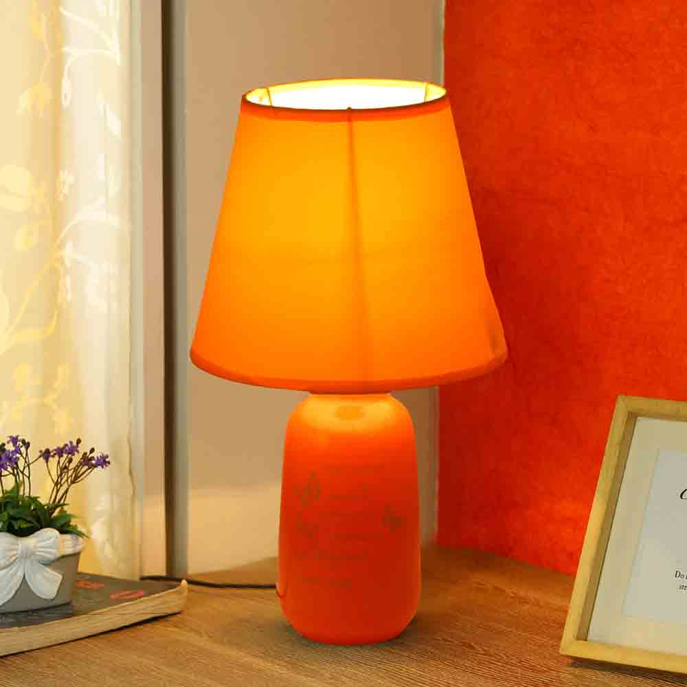 Quoted Glazed Ceramic Orange Table Lamp