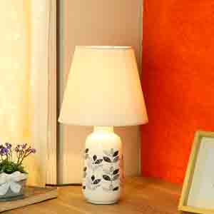 Lamps-Leaf Print Glazed Ceramic Grey Table Lamp