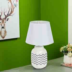Lamps-Geomatrical Grey Print on White Ceramic Table Lamp
