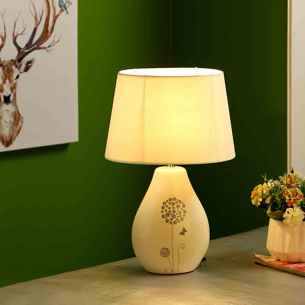 Nature Inspired Printed White Ceramic Table Lamp