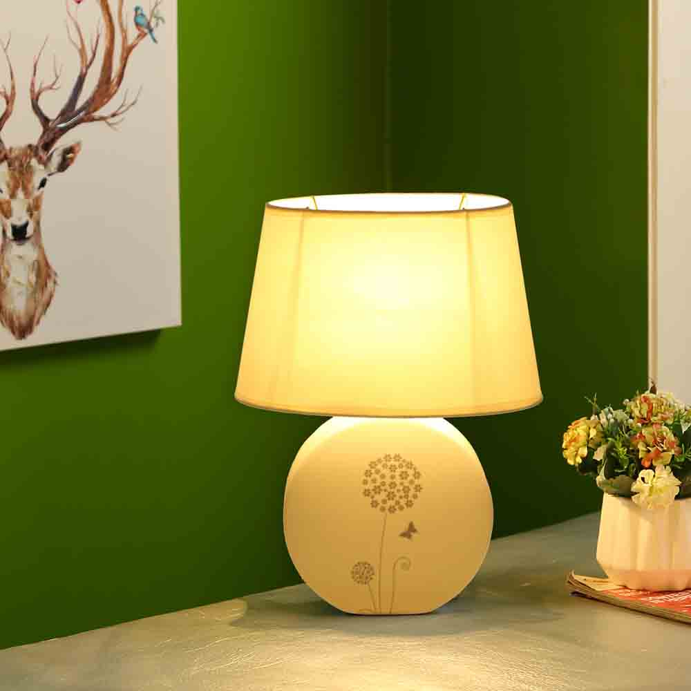 Butterfly Printed White Round Ceramic Table Lamp