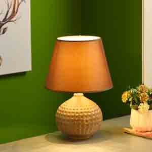 Lamps-Textured Surface Brown Ceramic Table Lamp