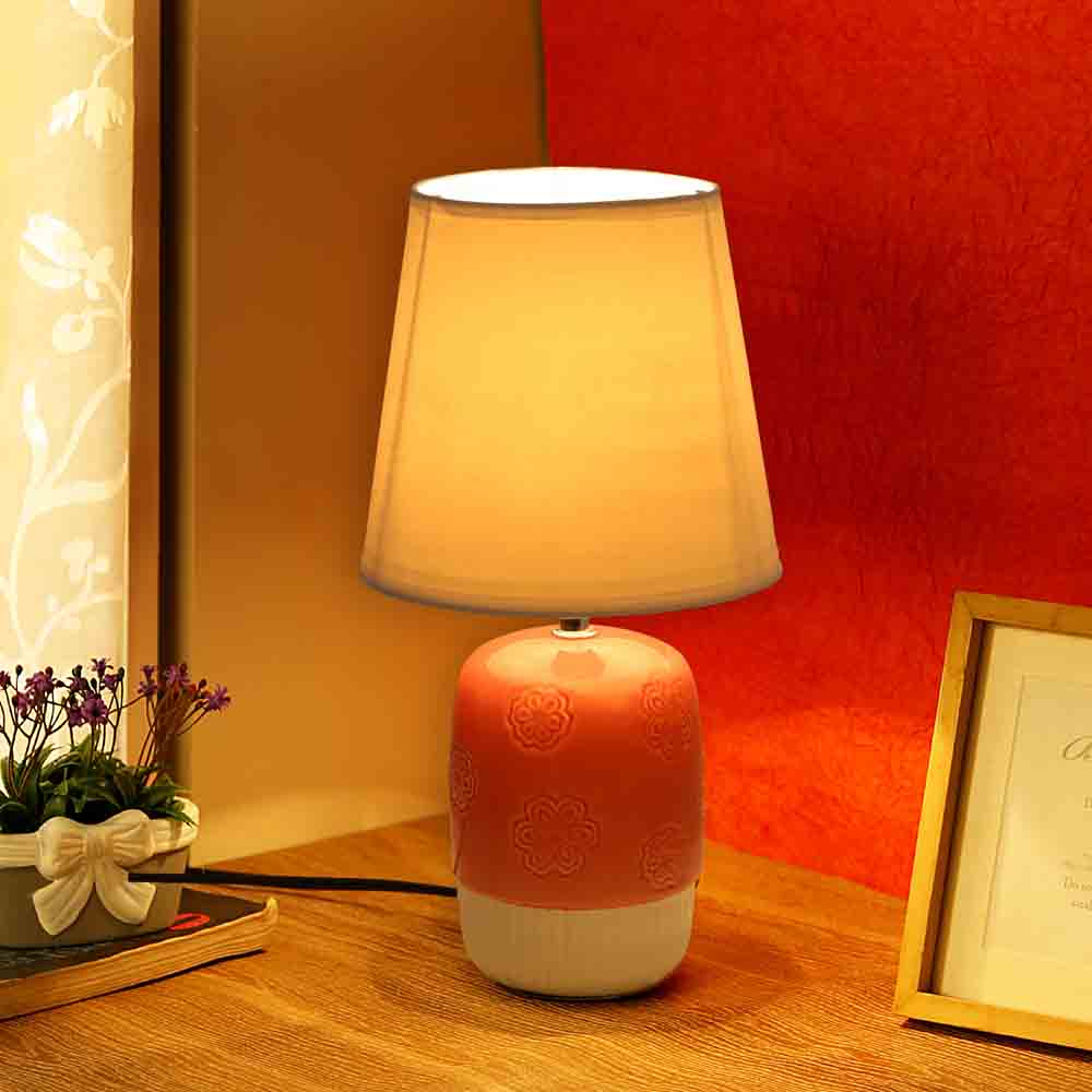 Embossed Pink White Ceramic Table Lamp