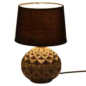 Lamps-Deep Surface Round Ceramic Black Table Lamp