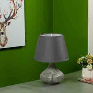 Lamps-Curvy Linear Striped Grey Ceramic Table Lamp