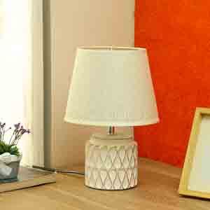 Lamps-Uniquely Crafted White Ceramic Table Lamp