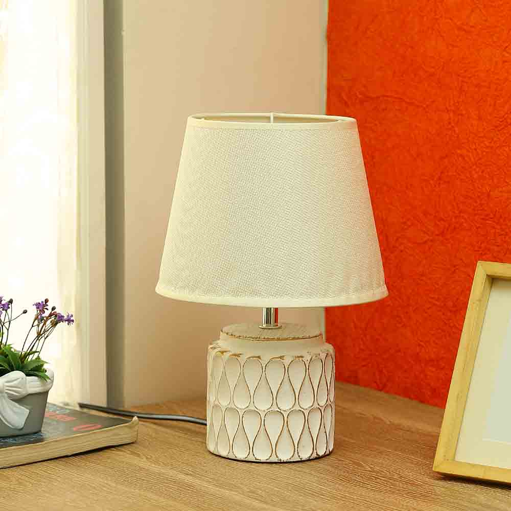 Uniquely Crafted White Ceramic Table Lamp