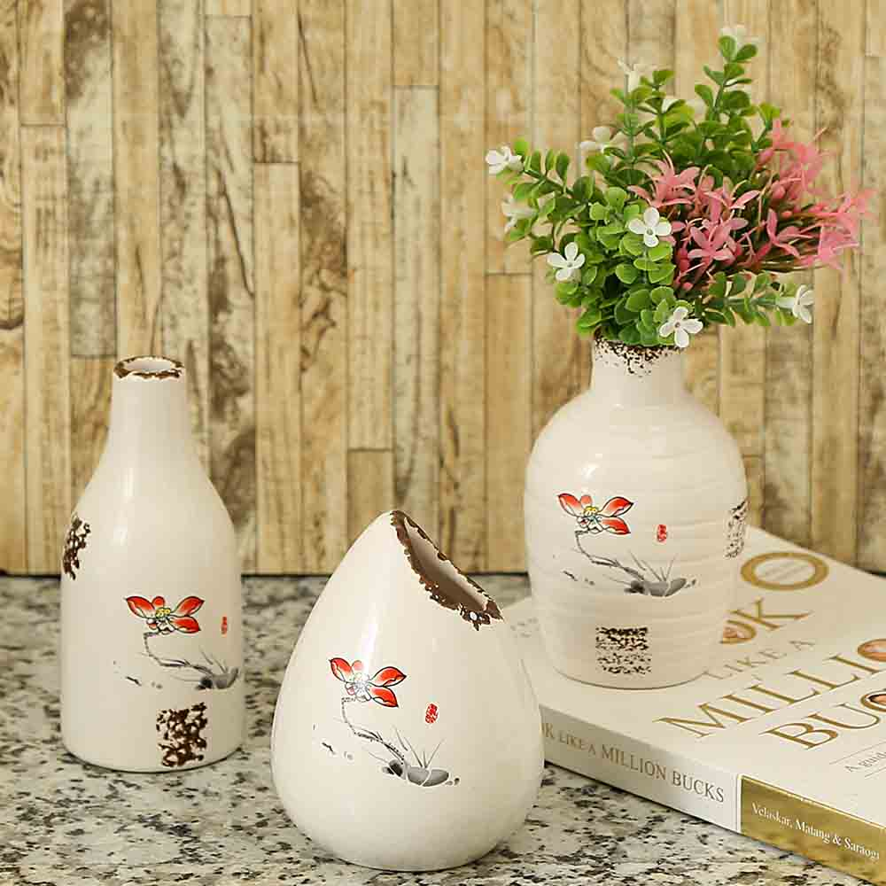 Rusty Finish Hand Painted White Ceramic Vases - Set of 3