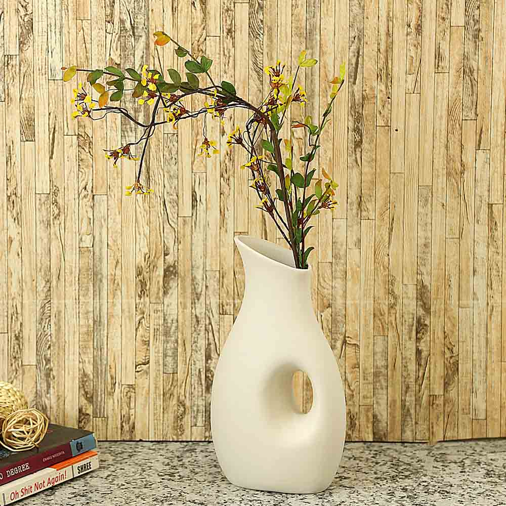 White Ceramic Mughal design Vase for Table