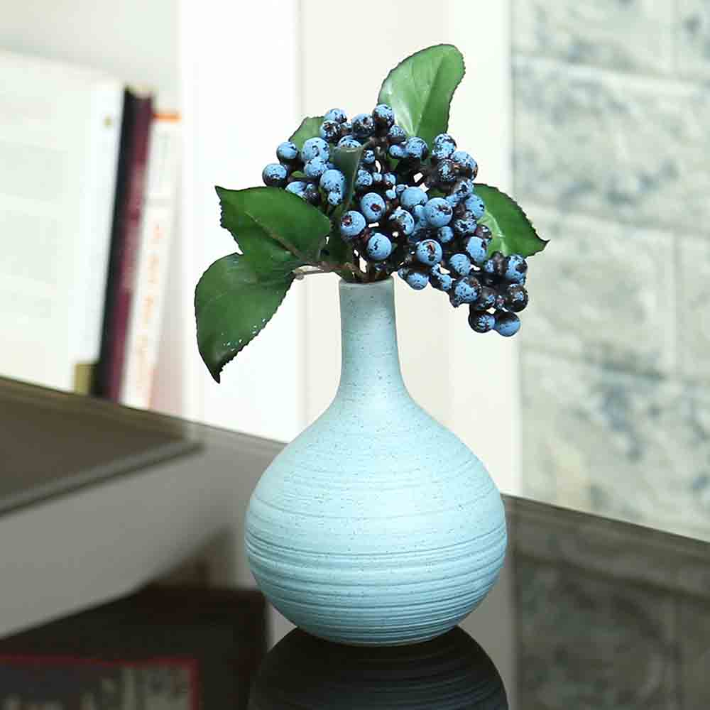Traditional Design Aqua Ceramic Flower Vase