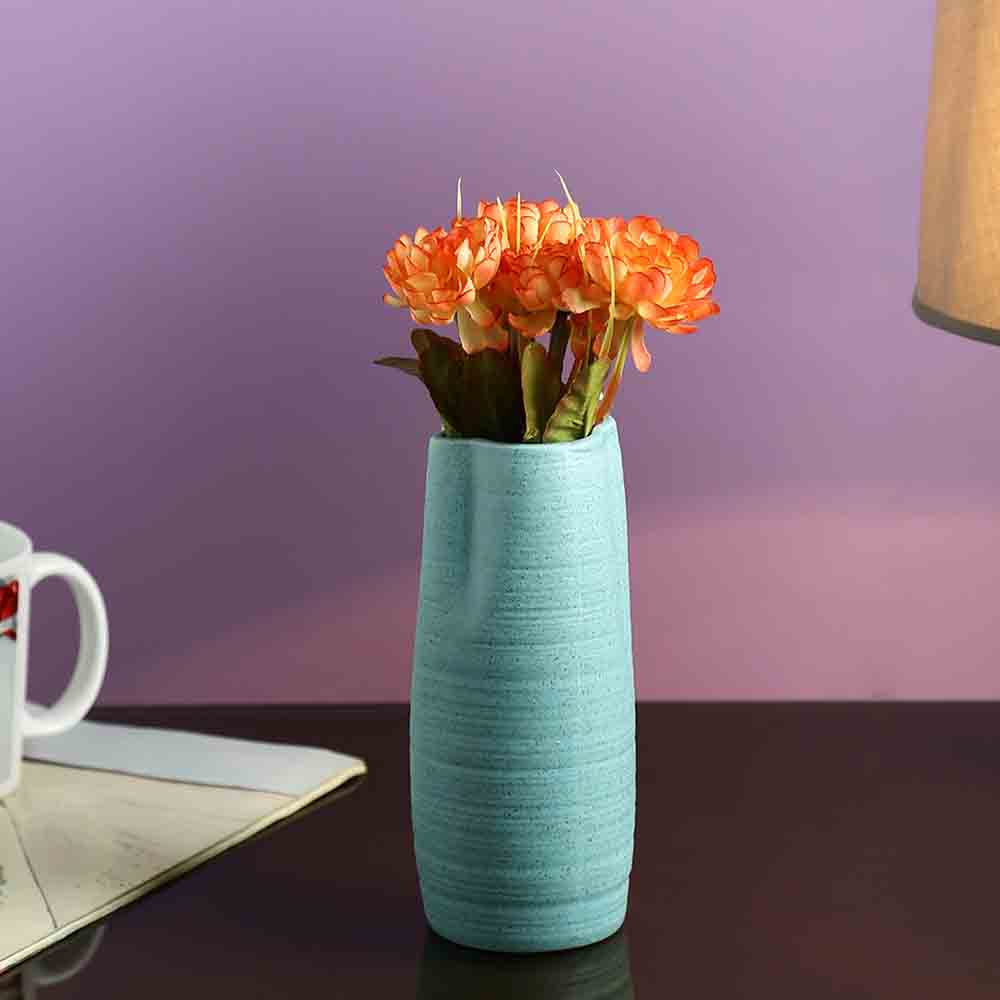 Vases-Broad Open Stone Finish Aqua Ceramic Vase