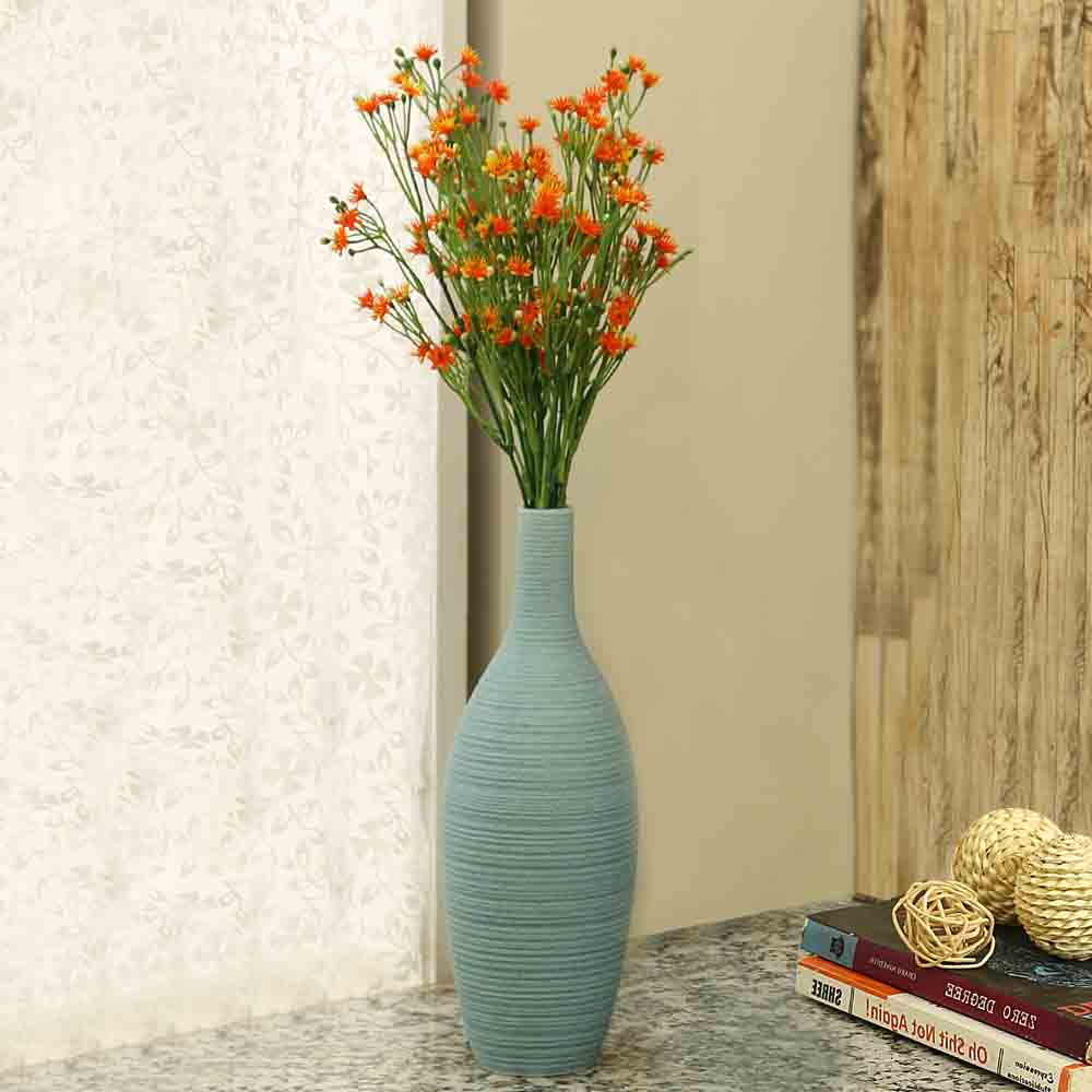 Beautiful Bottle Design Aqua Ceramic Vase