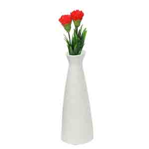 Vases-Conventional Jar styled White Ceramic Vase