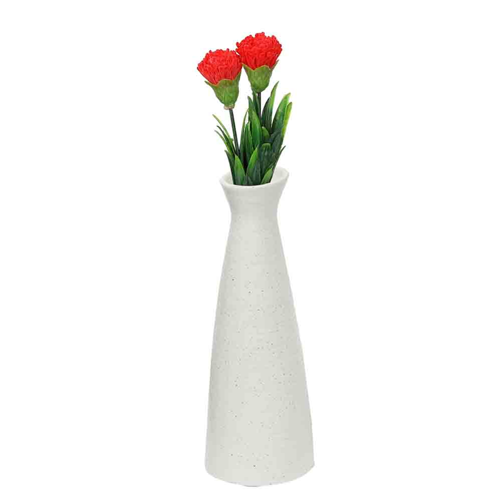 Conventional Jar styled White Ceramic Vase