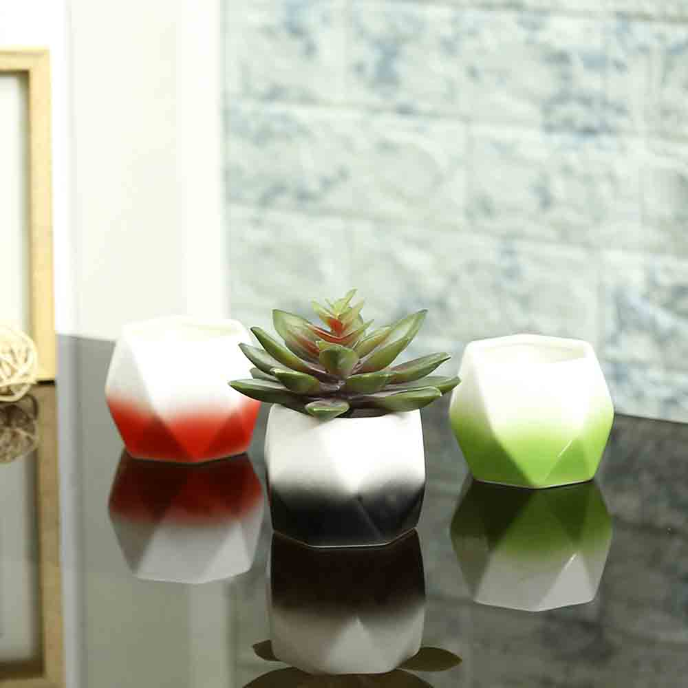 Multicolor Ceramic Small Planter Pots - Set of 3