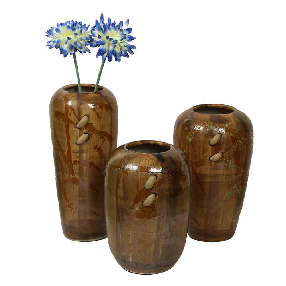 Handpainted Broad Open Brown Ceramic Vases - Set of 3