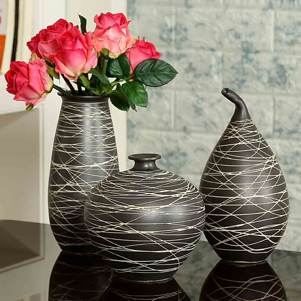 Black Ceramic Vases - Set of 3