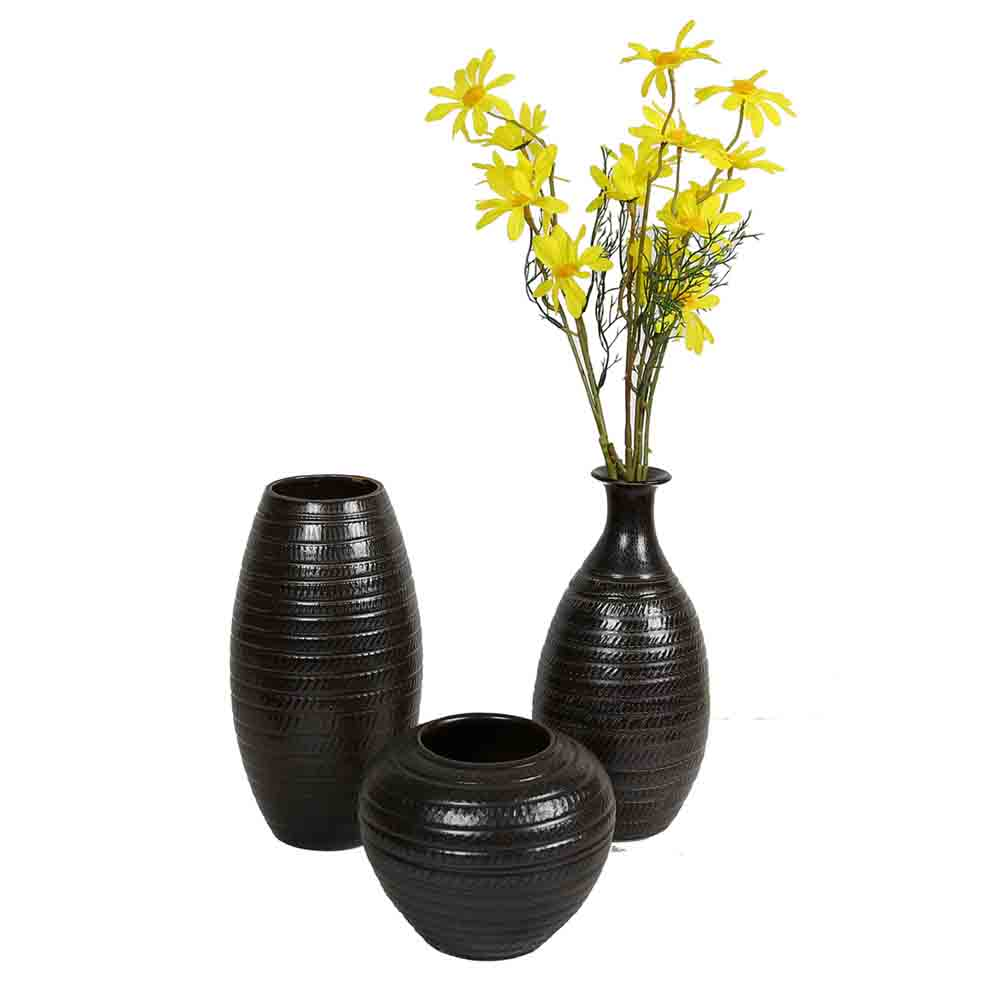 Brown Ceramic Vases- Set of 3