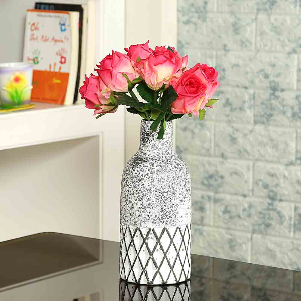 Geometrical White Ceramic Decorative Vase
