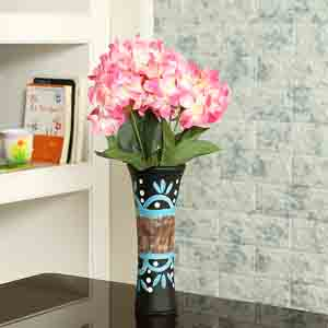 Vases-Hand Painted Textured Multicolor Ceramic Vase